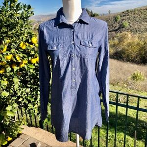 J.Crew Blue Cotton Chambray Pullover Tunic Top